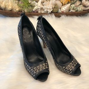 ✨Tory Burch✨Leather & Linen Platform Heels